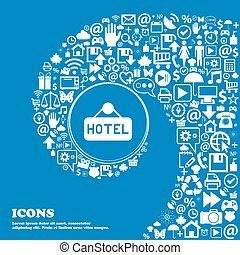 hotel icon sign. Nice set of beautiful icons twisted spiral into the center of one large icon. Vector