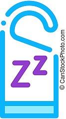 hotel, icono, ilustración, manija, etiqueta, contorno, zzz