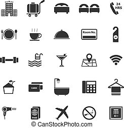 Hotel icons on white background, stock vector