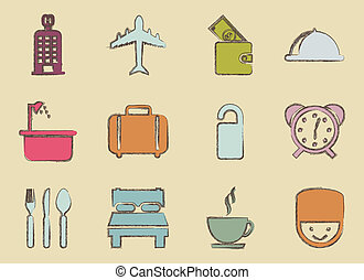 hotel icons over beige background. vector illustration