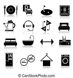 Hotel icons set black - Hotel amenities and room service...