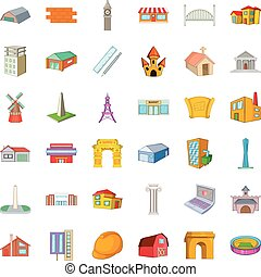 Hotel icons set, cartoon style