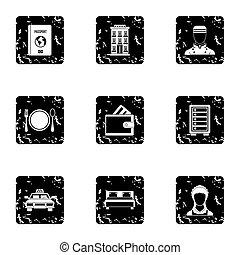 Hotel icons set, grunge style