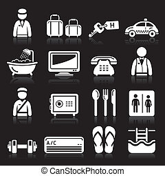 Hotel icons set on black background
