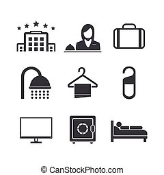 Hotel icons set on white background. Vector