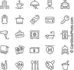 hotel icons set, vector thin line