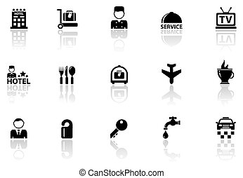 hotel icons set with reflection silhouette