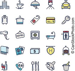hotel icons, vector thin line set
