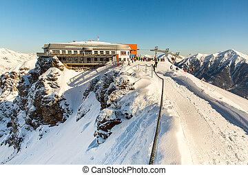 Hotel in ski resort Bad Gastein in winter snowy mountains, Austria, Land Salzburg, Austrian alps - nature and sport background