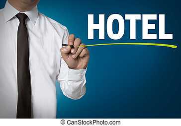 Hotel is written by businessman background concept