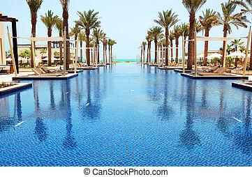 hotel, isla, abu, saadiyat, dhabi, natación, uae, piscina,...