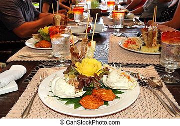 hotel, isla de samui, restaurante, alimento, tradicional, ...