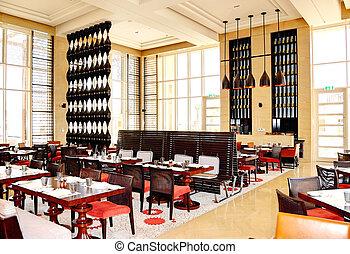 hotel, isla, interior del restaurante, lujo, saadiyat, dhabi...
