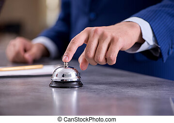 hotel, kantor, recepcyjny dzwon
