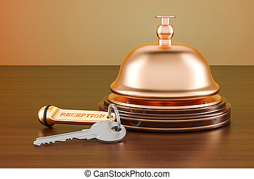 Hotel key and reception bell on the wooden table, 3D rendering