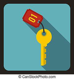 Hotel key icon, flat style