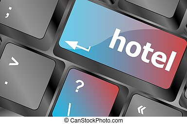 Hotel key in place of enter key - business concept . keyboard keys. vector illustration