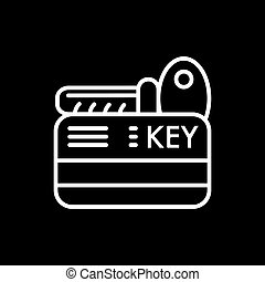 hotel key vector icon. Isolated on black. Outline style.