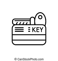 hotel key vector icon. Isolated on white. Outline style.