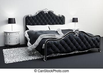 hotel., lamps., covering., interior., bed., quarto, ...