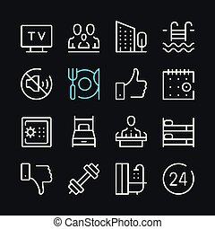 Hotel line icons. Modern graphic elements, simple outline thin line design symbols. Vector icons set