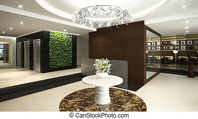 hotel lobby - Rendering of a modern hotel lobby