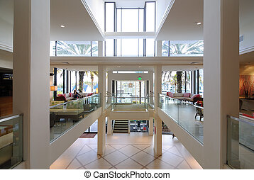 Hotel lobby with natural lighting