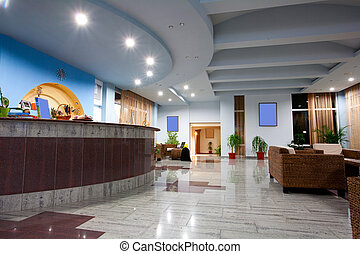 Indoor image of a hotel lobby or reception