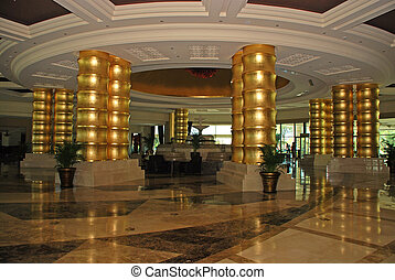 Hotel lobby - luxury hotel lobby with marble floor and ...