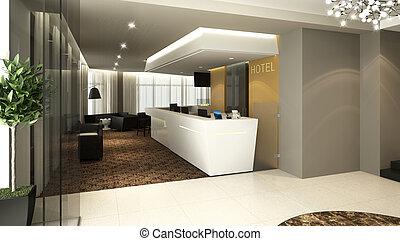hotel lobby reception - Rendering of a modern hotel ...
