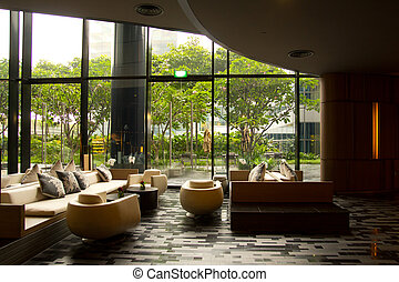 View of a comfortable waiting area or reception area in a hotel