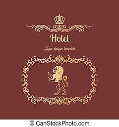 hotel, logo, mit, rahmen, und, löwe
