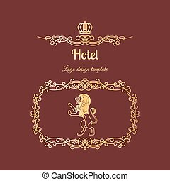 Hotel logo with frame and lion