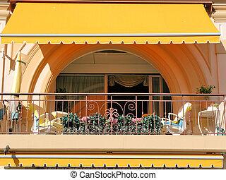 hotel, lujo, balcón