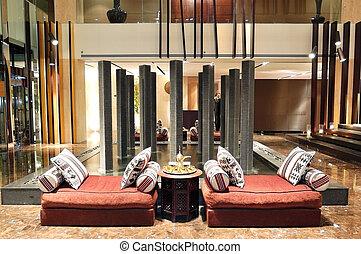 hotel, lujo, noche, interior, uae, vestíbulo, iluminación, ...