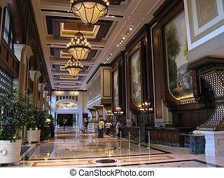 hotel, lujo, vestíbulo