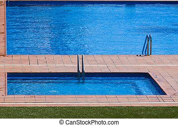 hotel, luxo, piscina, natação