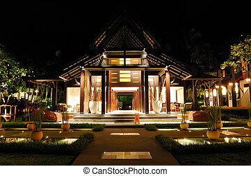 hotel, luxo, recepção, noturna, tailandia, iluminação, samui