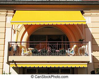 hotel, luxus, balkon