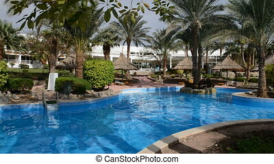 hotel, luxus, teich, schwimmender