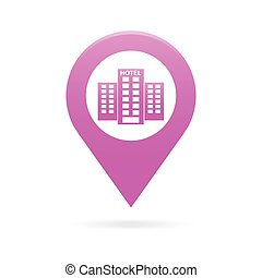 hotel map pointer icon marker GPS location flag symbol