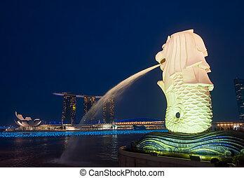 hotel, merlion, singapur, bahía, arenas, estatua, puerto...