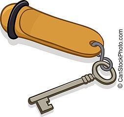 hotel, metal, llave, etiqueta