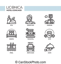Hotel - modern vector flat line design icons set. Spa,...