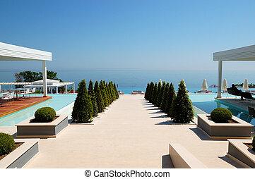 hotel, modernos, pieria, luxo, grécia, praia, vista