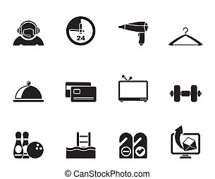 hotel, motel, iconos, amenidad
