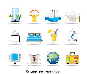 hotel, motel, vacaciones, iconos