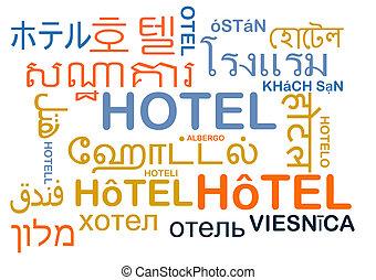 Hotel multilanguage wordcloud background concept