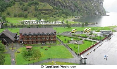 Hotel near sea coast in little Norwegian village, overview,...