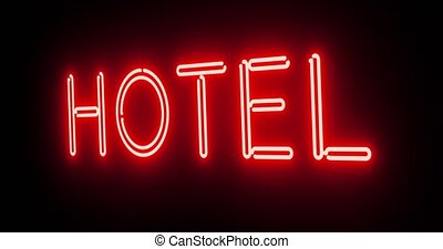 Hotel neon sign above guest house room - 4k - Hotel neon ...